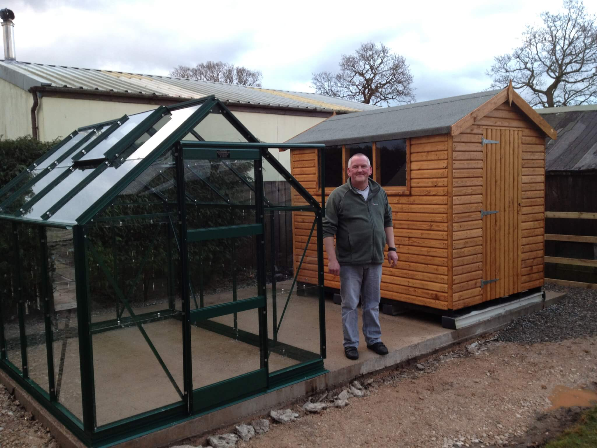 greenhouse and timber shed installation