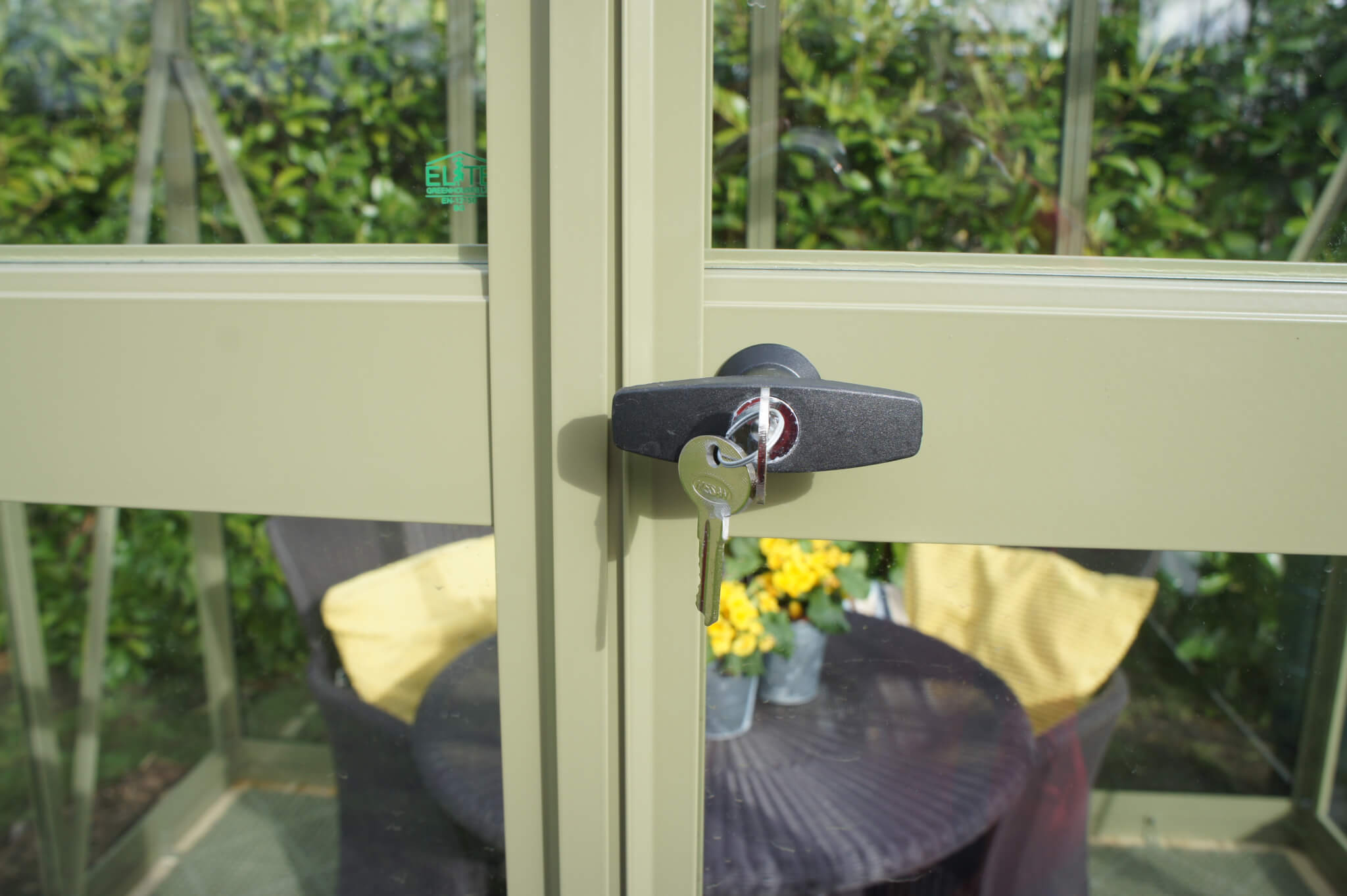 Secure lock feature on Edge greenhouses from GSG Buildings.