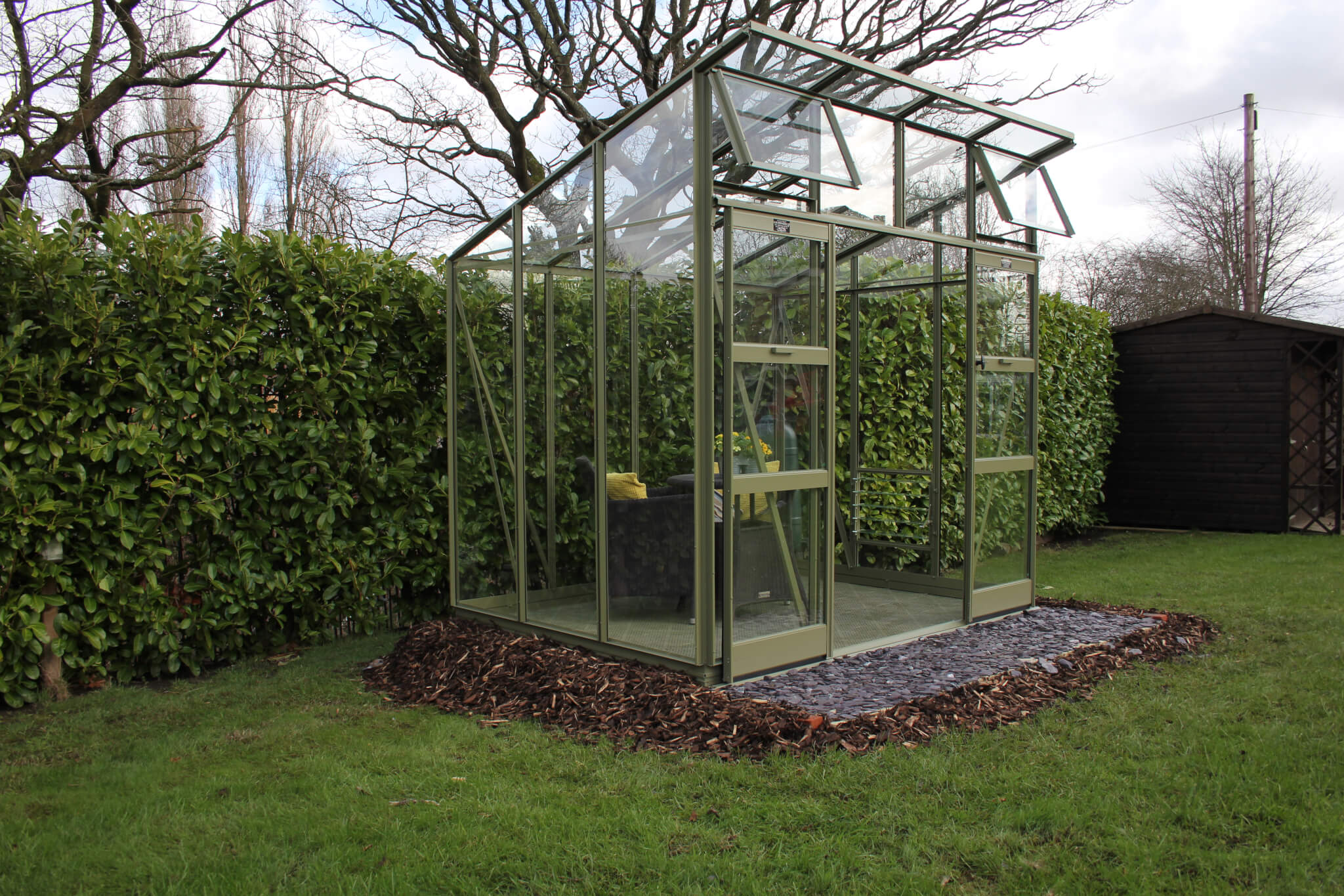 Aluminium exterior of Edge greenhouses by GSG Buildings.