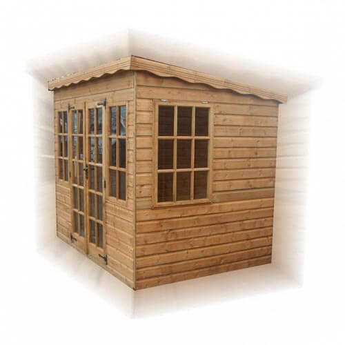 Timber double fronted pent-summerhouse