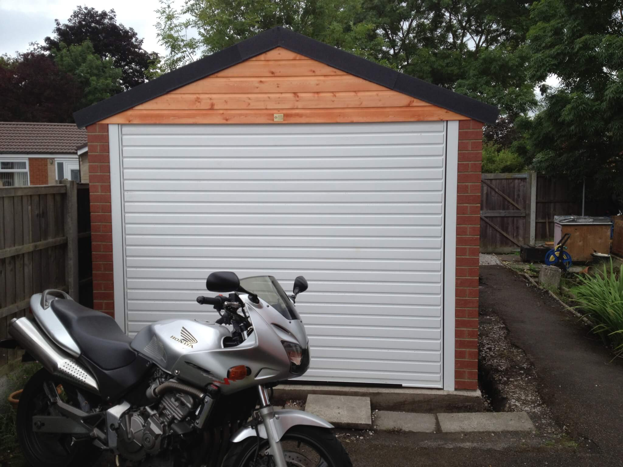 front of newly constructed garage