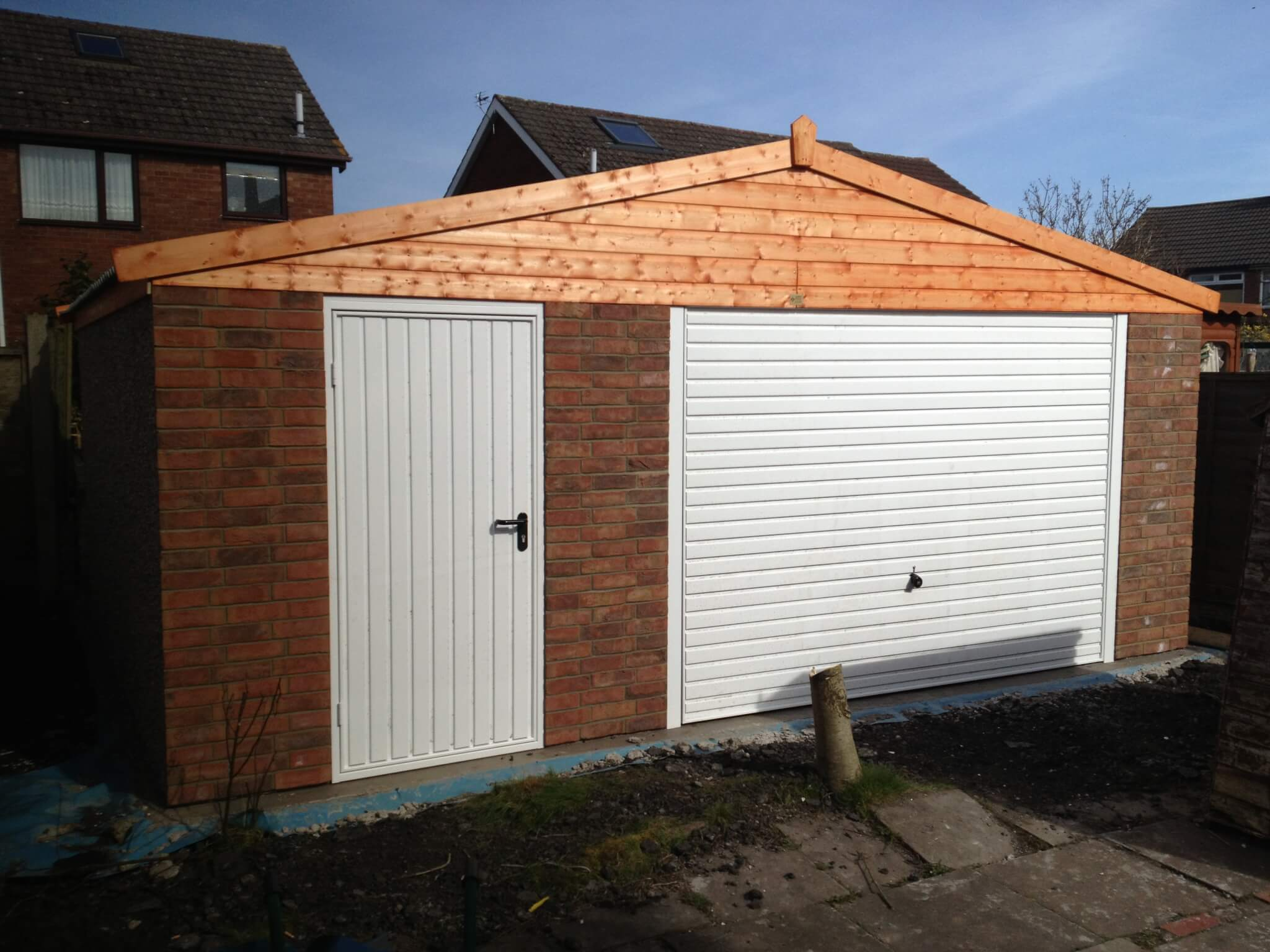 wide domestic sectional concrete garage